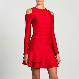 Shoshanna Red Jacquard Cold Shoulder Ruffle Dress